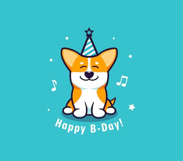 Logo happy birthday z psem. logotyp z zabawnym corgi i frazą z literą.