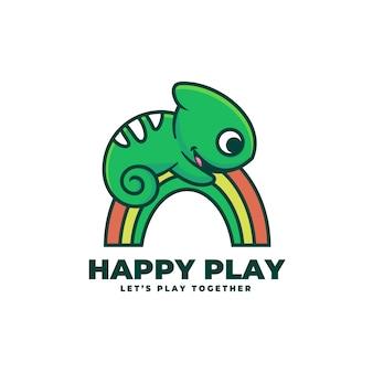 Logo happy play prosty styl maskotki.