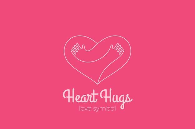 Logo heart love hugs. przytulanie rąk w stylu liniowym. walentynki romantyczne randki logotyp darowizny na cele charytatywne