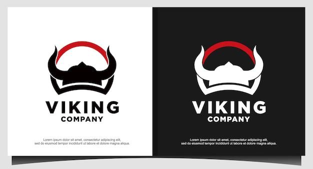 Logo hełmu wikinga starożytnego wojownika
