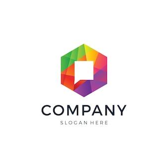 Logo hexagon chat