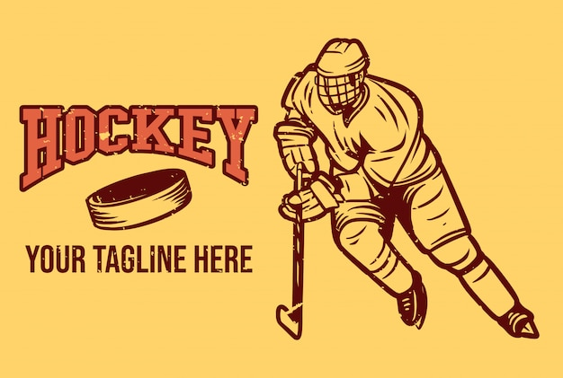 Logo hokeja w stylu vintage