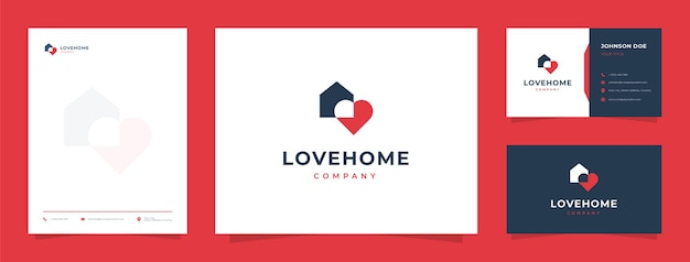 Logo house and love z wizytówką i papierem firmowym