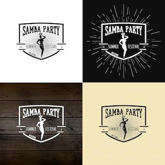 Logo I Etykiety Odznaki Samby Party. Premium Wektorów