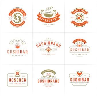 Logo i odznaki restauracji sushi przedstawiają japońskie jedzenie z roladkami z łososia sushi