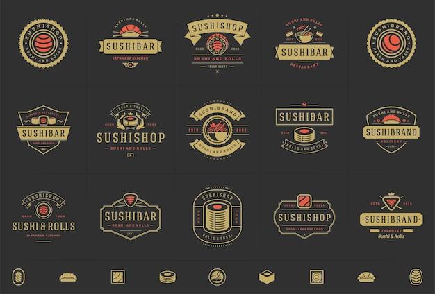 Logo i odznaki restauracji sushi ustawiają japońskie jedzenie