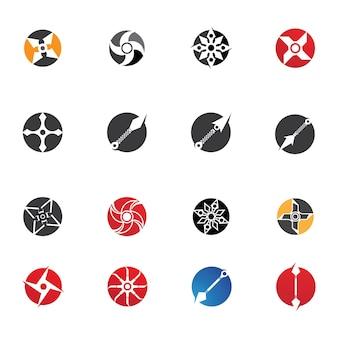 Logo i symbol wektora broni ninja
