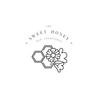 Logo i szablon lub znaczek. ekologiczna i ekologiczna etykieta z miodem - kwiaty z plaster miodu styl liniowy.