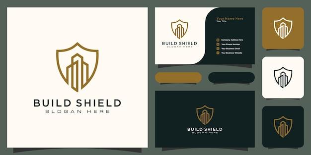 Logo i wizytówka w stylu linii budynku i tarczy