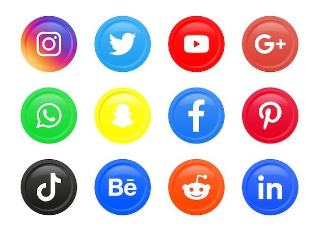 Logo ikon mediów społecznościowych w okrągłym kółku lub nowoczesnych guzikach