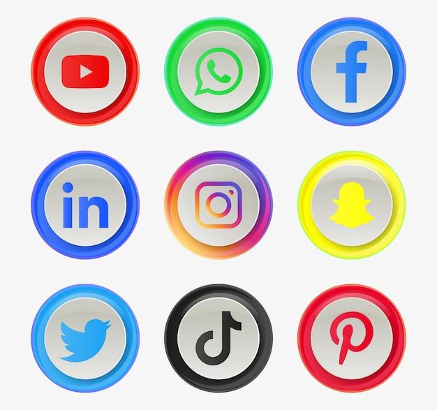 Logo ikon mediów społecznościowych w okrągłym okręgu lub nowoczesnych przyciskach