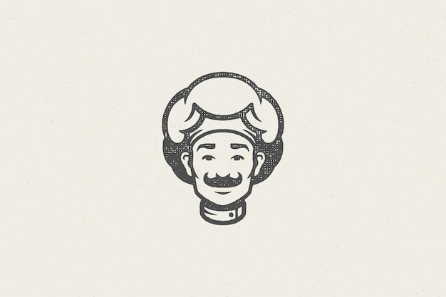 Logo ikona głowa uśmiechniętego mężczyzny sylwetka kucharza w efekt pieczęci wyciągnąć rękę kapelusz szefa kuchni