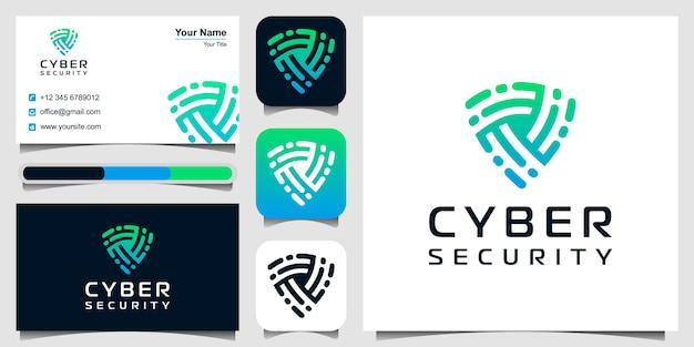 Logo ikona tarczy. symbol bezpieczeństwa cybernetycznego. projekt logo i zestaw wizytówek