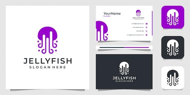 Logo illustraction meduzy w nowoczesnym stylu. pasuje do zwierząt, biznesu, marki, reklamy i wizytówki