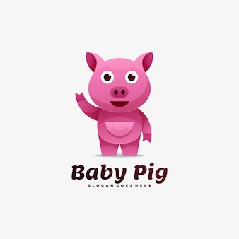 Logo ilustracja baby pig gradient kolorowy styl.