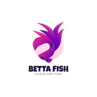 Logo ilustracja betta ryb gradient kolorowy styl