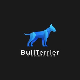 Logo ilustracja bull terrier stanowią gradient kolorowe