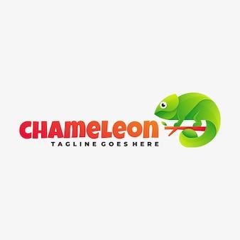 Logo ilustracja chameleon gradient kolorowy styl.