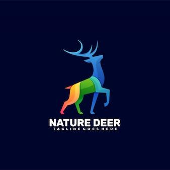 Logo ilustracja charakter deer gradient kolorowy styl.