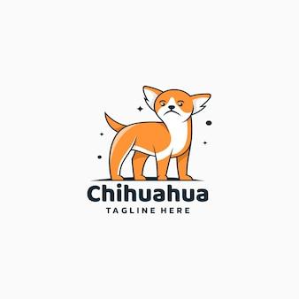 Logo ilustracja chihuahua prosty styl maskotki.