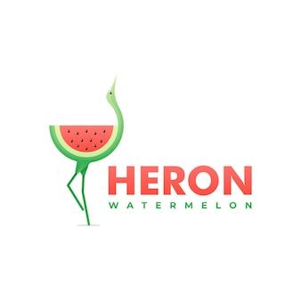 Logo ilustracja czapla gradientu kolorowy styl.