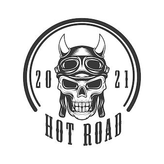 Logo ilustracja czaszki z kaskiem jeźdźca