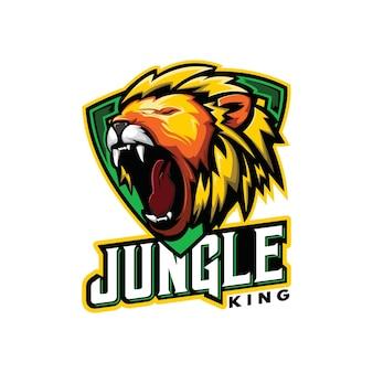 Logo ilustracja do gier głowa lwa dżungla król esport logo głowa lwa ryk wektor styl