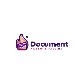 Logo ilustracja dokument prosty styl maskotki