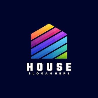 Logo ilustracja dom gradientu kolorowy styl.