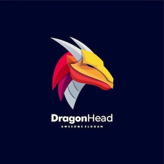 Logo ilustracja dragon head kolorowy styl.