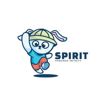 Logo Ilustracja Duch Maskotka Styl Kreskówki. Premium Wektorów
