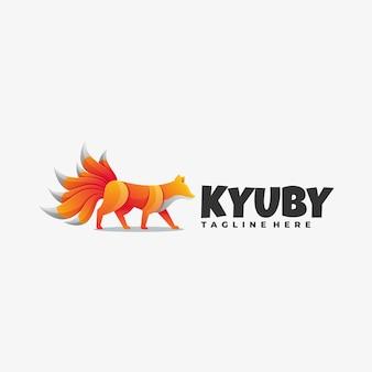 Logo ilustracja dziewięć ogon fox gradient kolorowy styl.