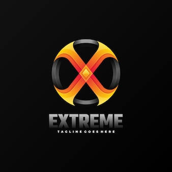 Logo ilustracja ekstremalne gradientu kolorowy styl.