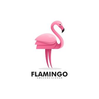 Logo ilustracja flamingo gradient kolorowy styl.