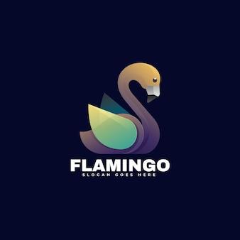 Logo ilustracja flamingo gradient kolorowy styl
