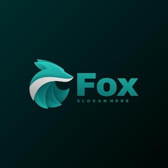 Logo ilustracja fox gradient kolorowy styl.