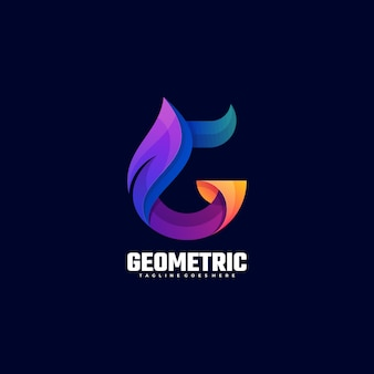 Logo ilustracja geometryczny gradient kolorowy styl.