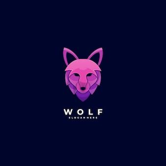 Logo ilustracja głowa wilka gradient kolorowy styl.