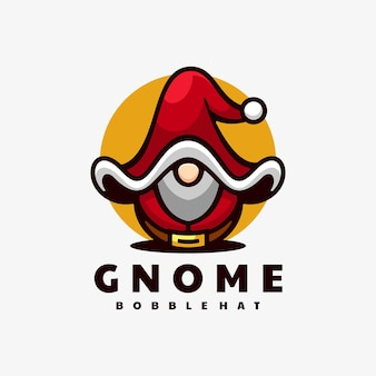 Logo ilustracja gnome prosty styl maskotki.