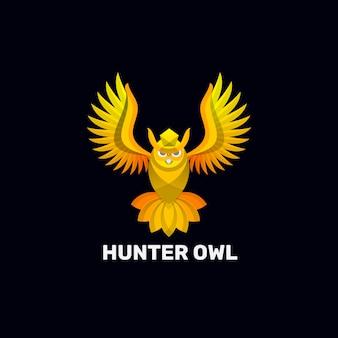 Logo ilustracja hunter sowa gradient kolorowy styl.
