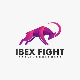 Logo ilustracja ibex walka gradient kolorowy styl.