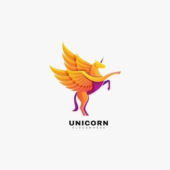 Logo ilustracja jednorożec gradientu kolorowy styl.