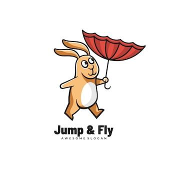 Logo ilustracja jump & fly prosty styl maskotki.