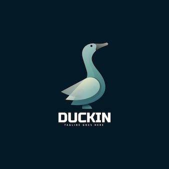 Logo ilustracja kaczka gradientu kolorowy styl.