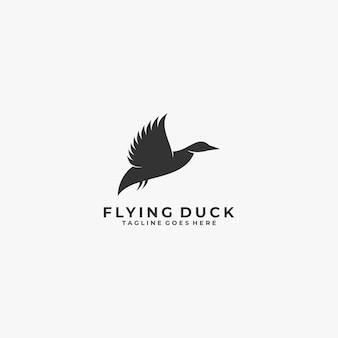 Logo ilustracja kaczka latający styl sylwetka.