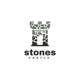 Logo ilustracja kamienny zamek styl sylwetka