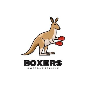Logo ilustracja kangur bokserki prosty styl maskotki.