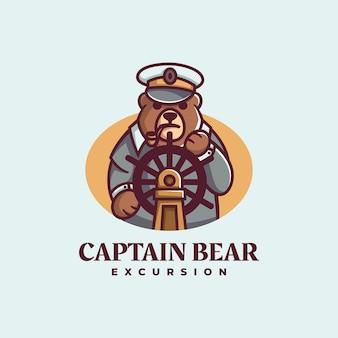 Logo ilustracja kapitan niedźwiedź prosty styl maskotki.