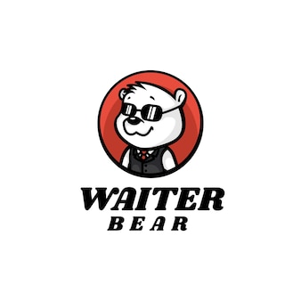Logo ilustracja kelner niedźwiedź maskotka stylu cartoon