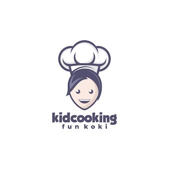 Logo ilustracja kid gotowania maskotka stylu cartoon.